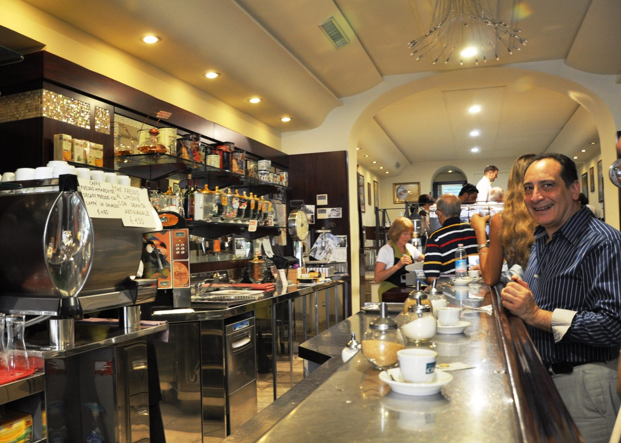 Drink coffee standing up at the bar, like the Italians do!