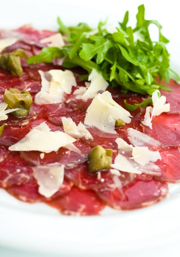 Raw beef or carpaccio, a Venetian food