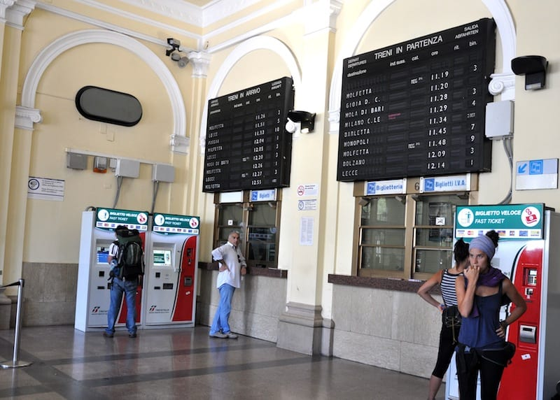 Board for the departures and arrivals of trains
