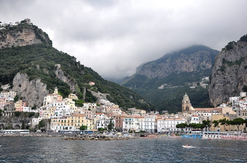 A view of the Amalfi coast from the sea