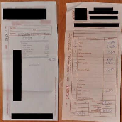 A legal receipt from an Italian restaurant.