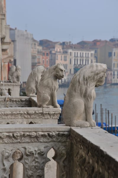 Lions on the balcony of a palazzo in Venice