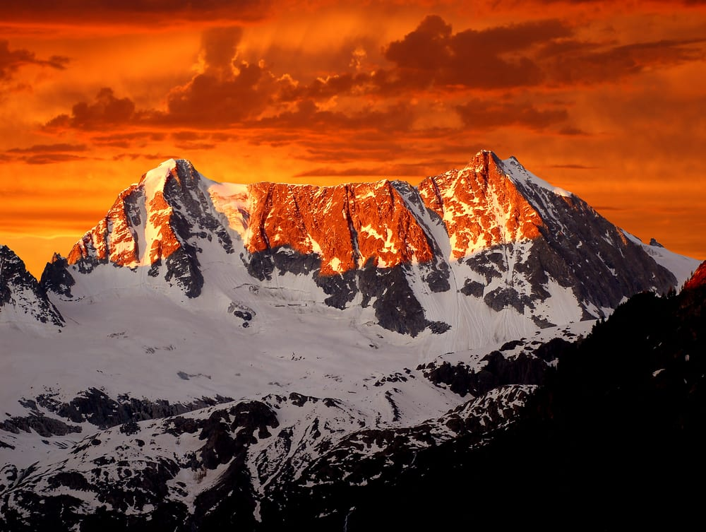 sunrise over Presanella in the National Park Adamello-Brenta-Italian Alps 2