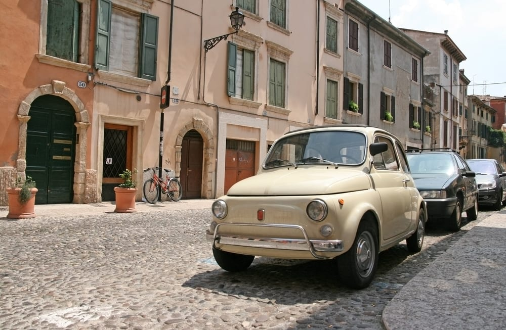 A Fiat 500 on the street of Verona