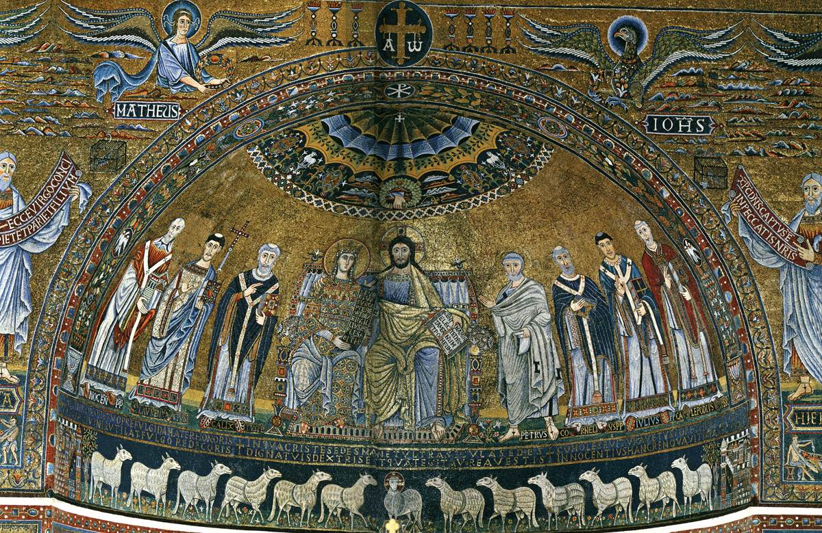 See the figure all the way to the left, holding a church? That's Pope Innocent II (his name appears beneath his feet), and he was the patron who rebuilt the church—and had this mosaic added—in the 12th century!