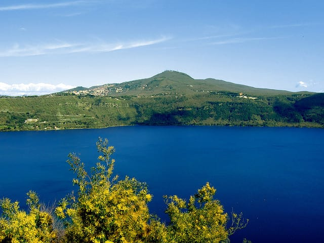 Albano lake and the pope's castle outside of Rome