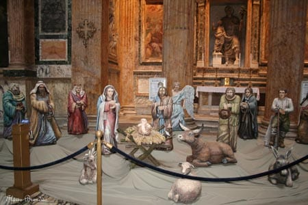 A traditional nativity scene, or presepio