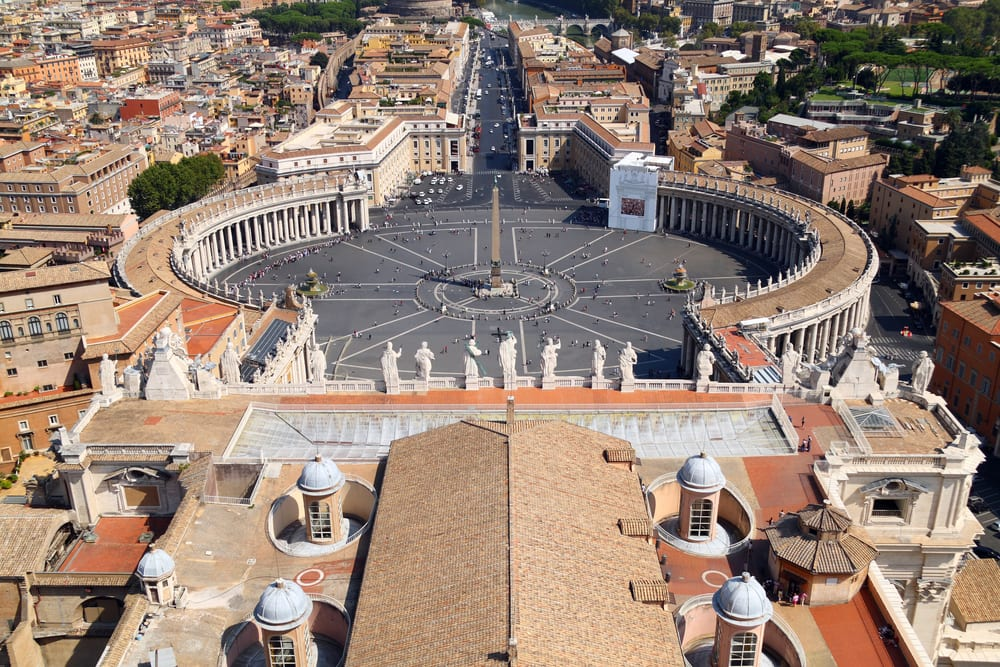 The view from the top of the dome of St. Peter's Basilica (now you know how big it is!)