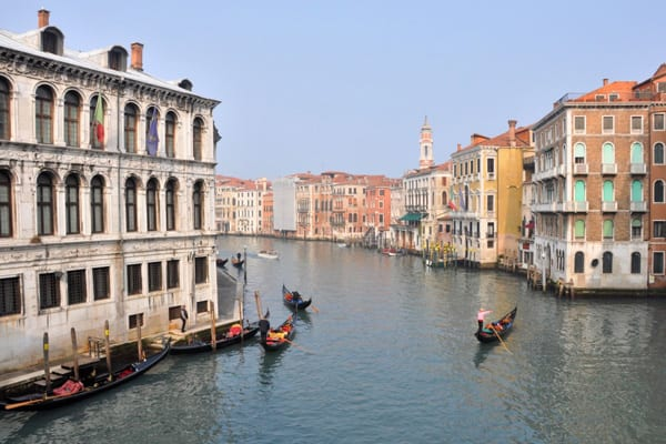 Even on a sunny day, Venice's Grand Canal in February is relatively tranquil!