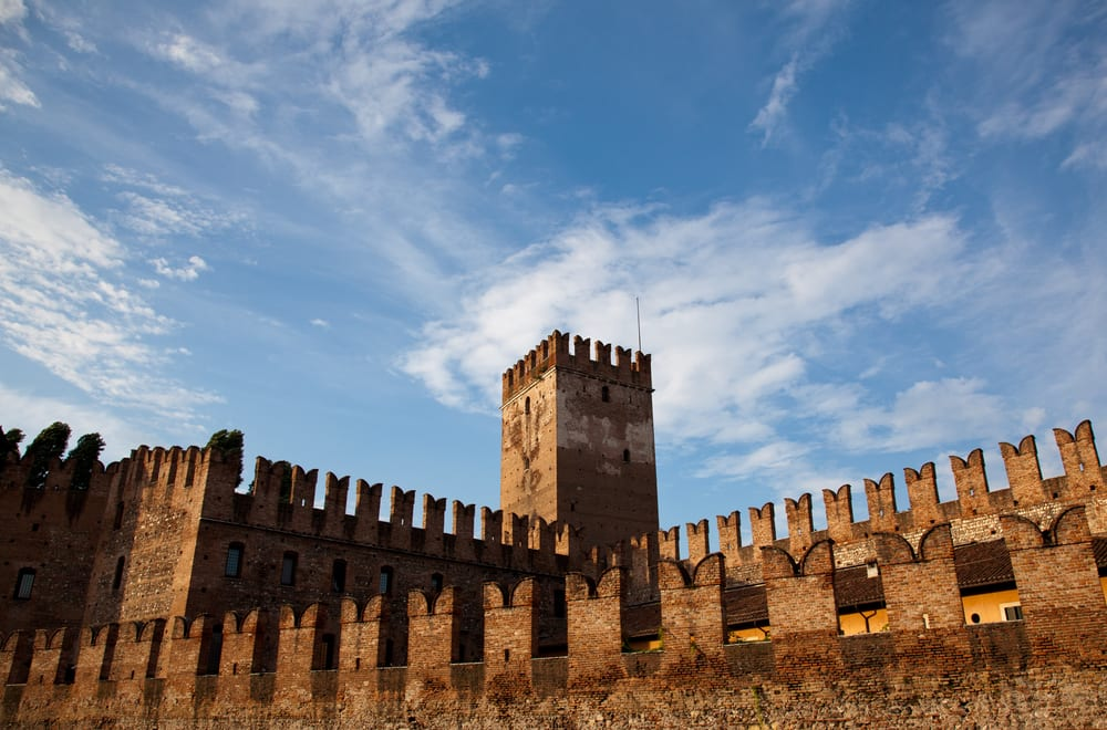 The battlements of Castelvecchio, a medieval fortress and art museum in Verona