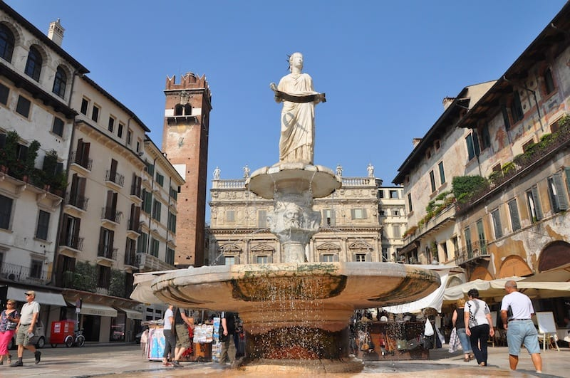 Piazza delle Erbe, one of Italy's loveliest piazzas