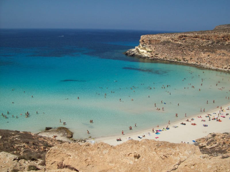 Rabbit Beach, Lampedusa, Sicily. Photo by Figiu (Wikicommons)