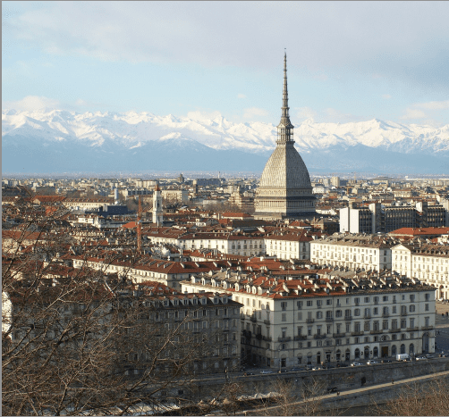 Gorgeous panorama of Turin in Italy