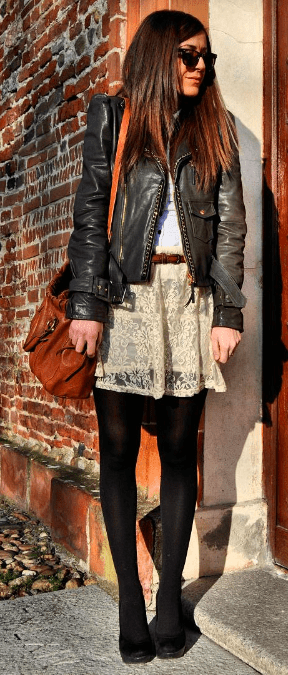 Sunglasses, leather jacket and neutral colors on Scent of Obsession's Nicoletta Reggio