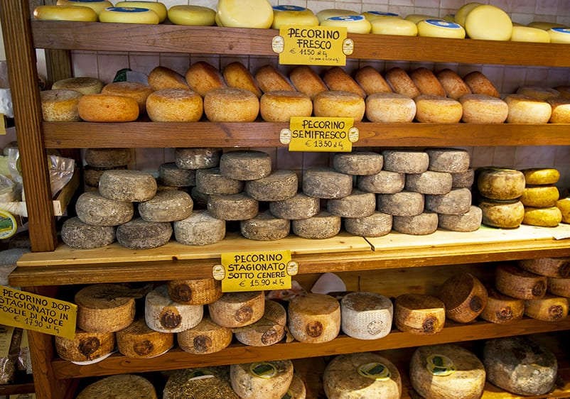 Pecorino cheese in Toscana