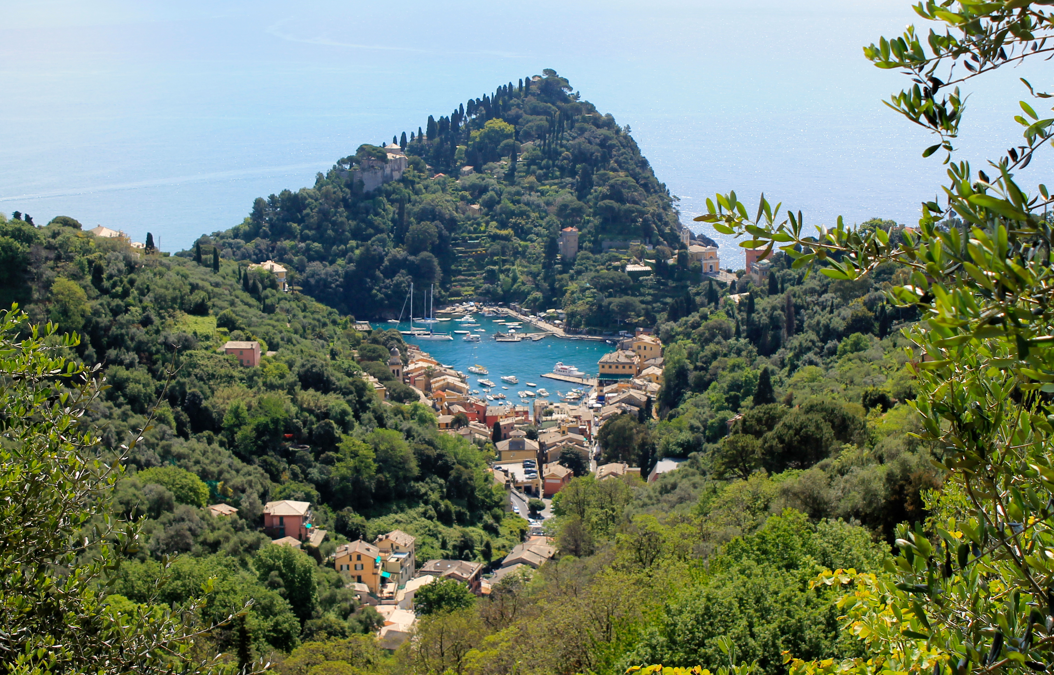 After about a 15 minute steep ascent look back where you came from – you'll be greeted with this amazing view of Portofino! Photo by Gina Mussio