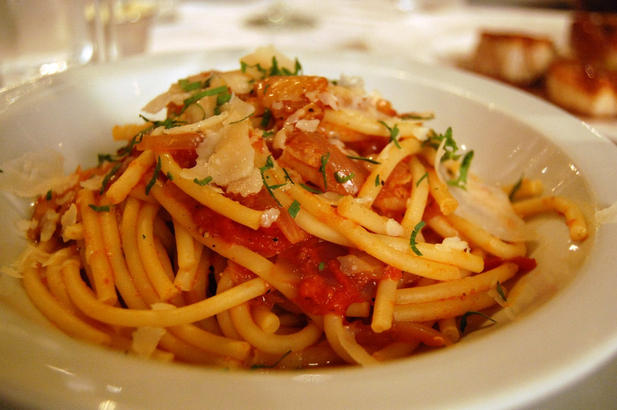 Bucatini al' Amatriciana - doses it have guanciale or salt beef? Hard to tell without taking a bite!