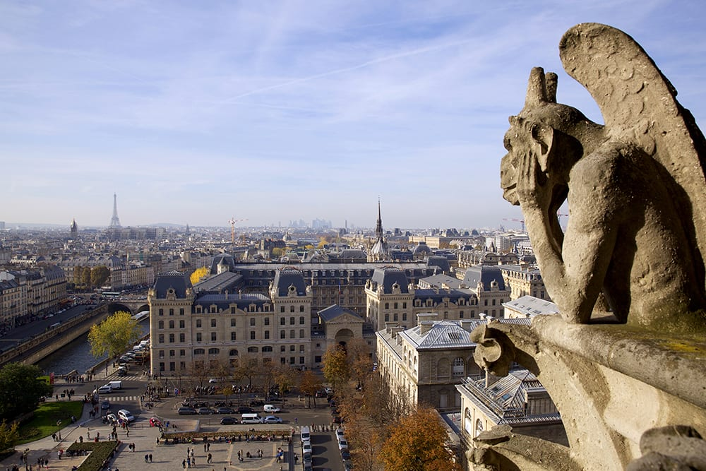 A gargoyle on Notre Dame contemplates the Eiffel Tower
