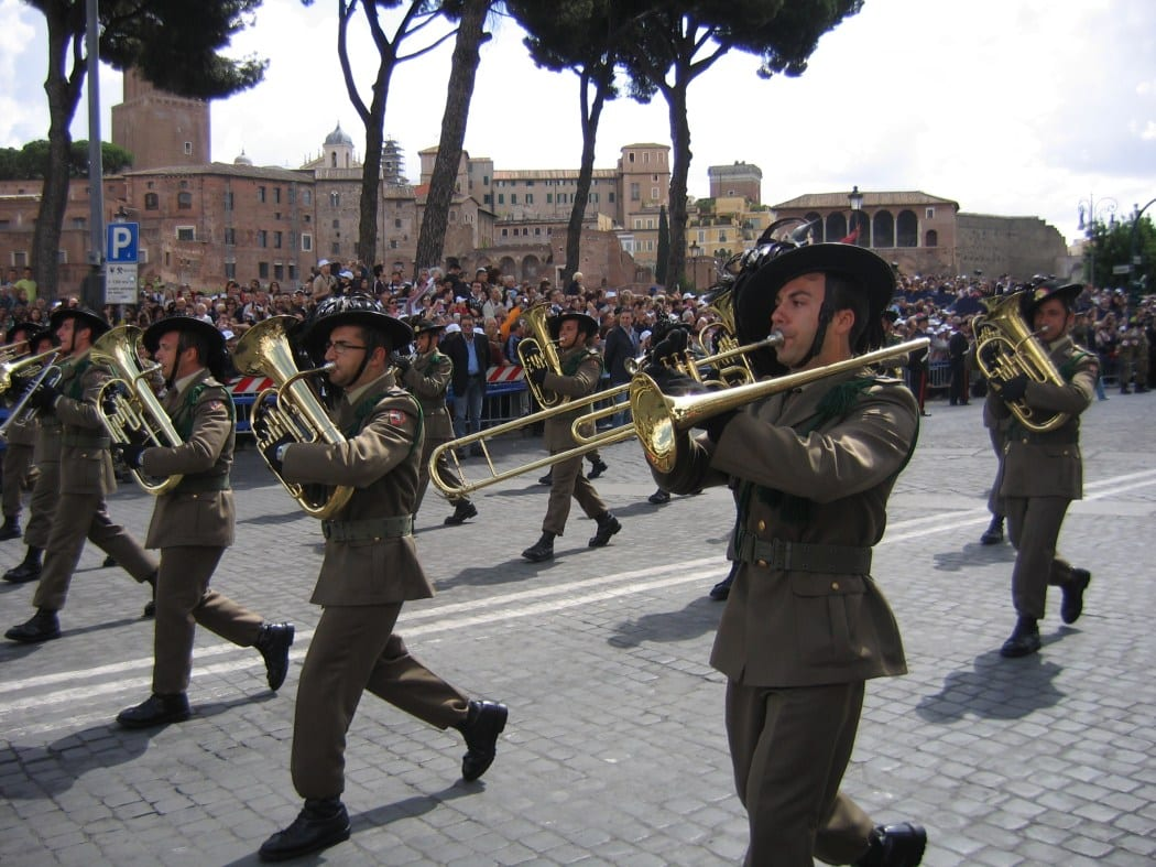 A marching band celebrates the Festa della Repubblica