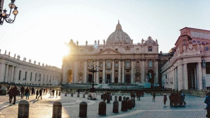 The site of the impressive St. Peter's Basilica welcomes visitors to the Vatican City